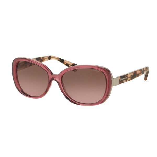 Coach HC8172 L153 537114 Crys Berry/Peach Tortoise Womens Plastic Rectangle Sunglasses