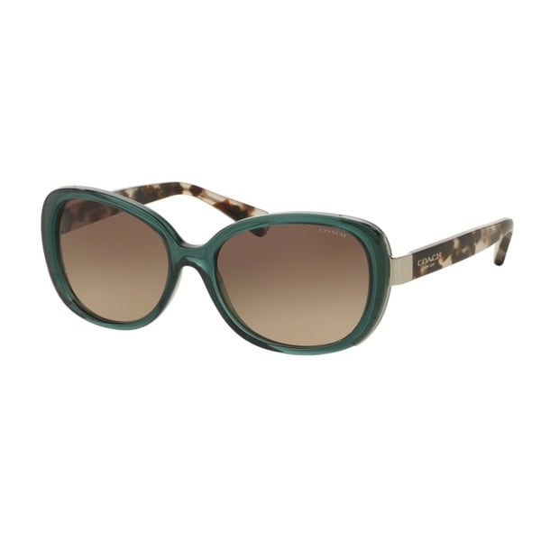 Coach HC8172 L153 5370D0 Crys Teal/Snow Leopard Tort Womens Plastic Rectangle Sunglasses