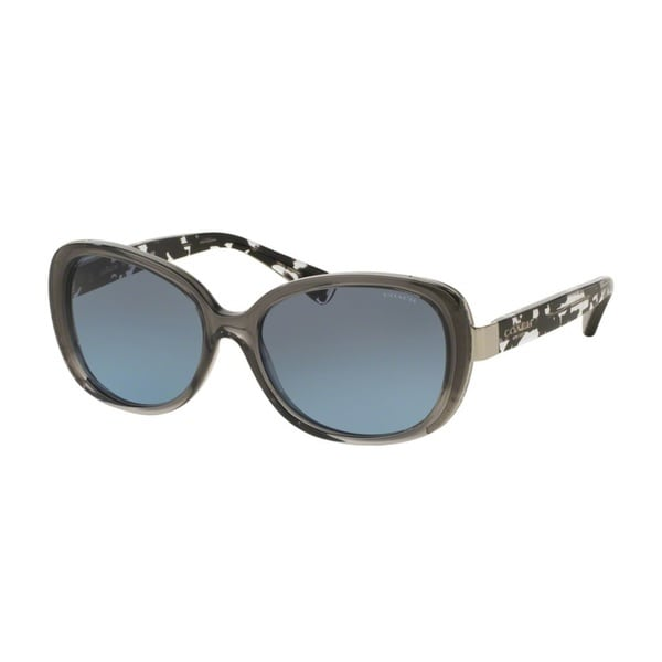 Coach HC8172 L153 536817 Dk Gry Crys/Blk Crystal Mosaic Womens Plastic Rectangle Sunglasses