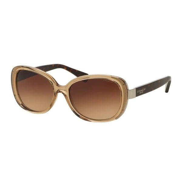 Coach HC8172 L153 536913 Crys Lt Brown/Dark Tortoise Womens Plastic Rectangle Sunglasses