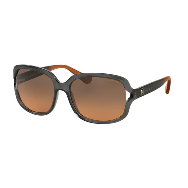 Coach HC8169 L149 536395 Crys Grey/Crys Grey Amber Grad Womens Plastic Square Sunglasses