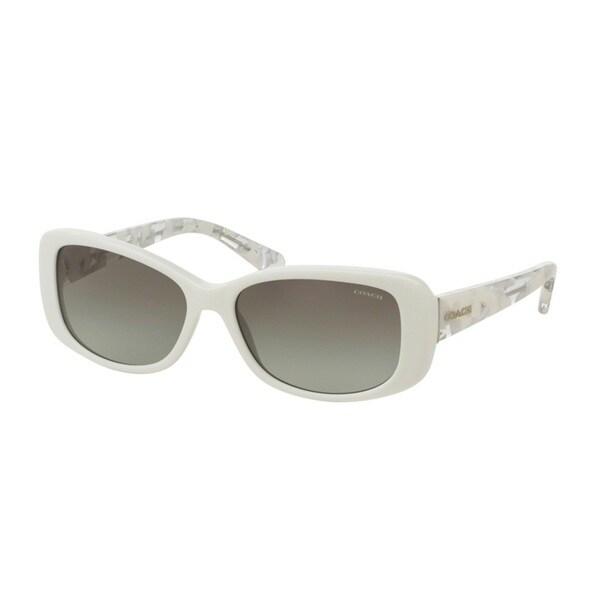 Coach HC8168F 536011 White/White Crystal Mosaic Womens Plastic Rectangle Sunglasses