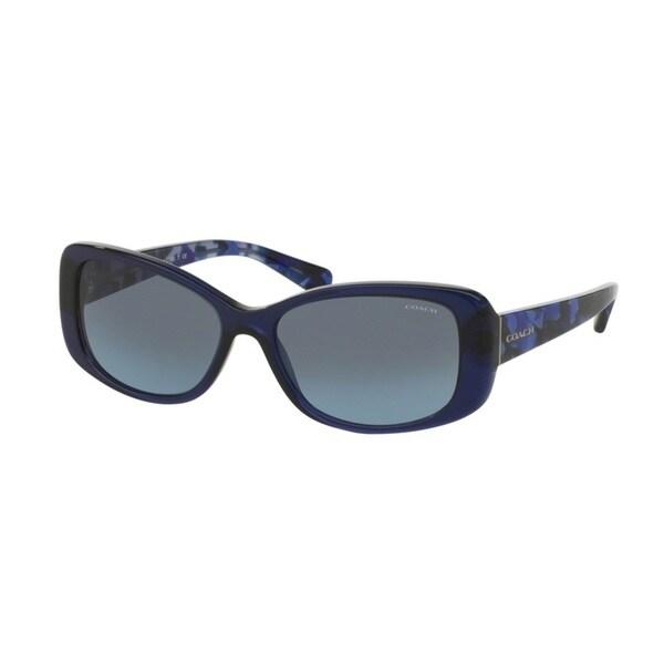 Coach HC8168F 534917 Navy/Blue Black Mosaic Womens Plastic Rectangle Sunglasses