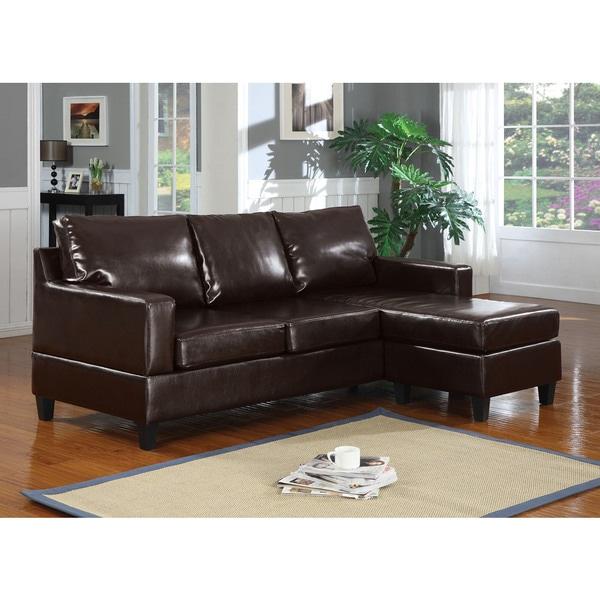 Vogue Sectional Sofa, Espresso Bonded Leather