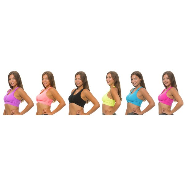 Women's Racerback Multicolored Nylon/SandexPadded Sports Bras (Pack of 6) 20622378