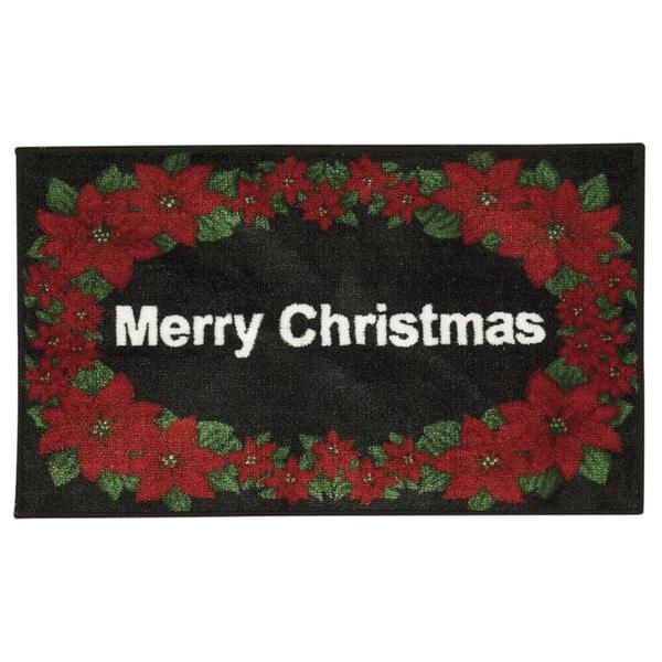 Nourison Accent Decor Merry Christmas Black Accent Rug (1'6 x 2'6) 20622483