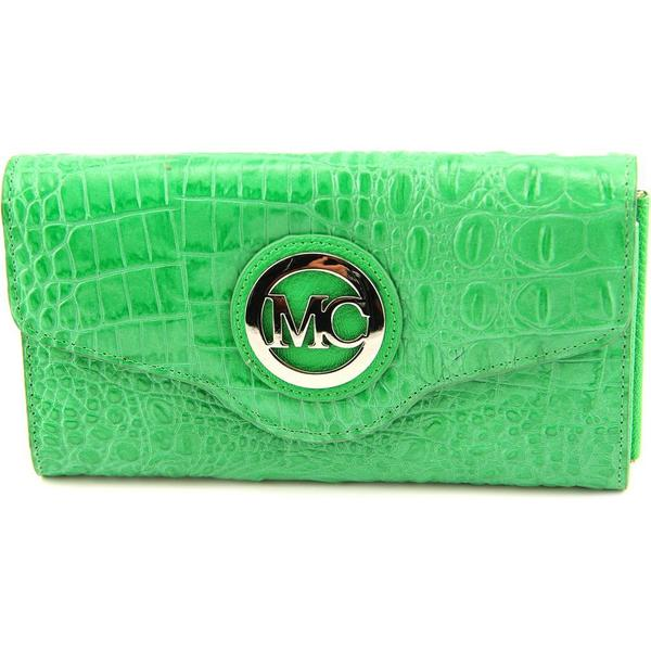 Madi Claire Women's 'Claire' Green Leather Clutch Handbag