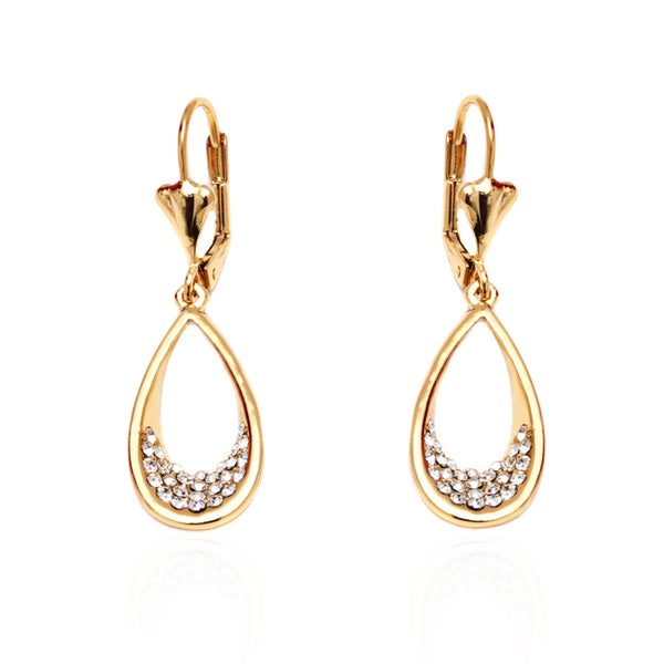 18k Goldplated Gold and White Open Teardrop Drop Earrings