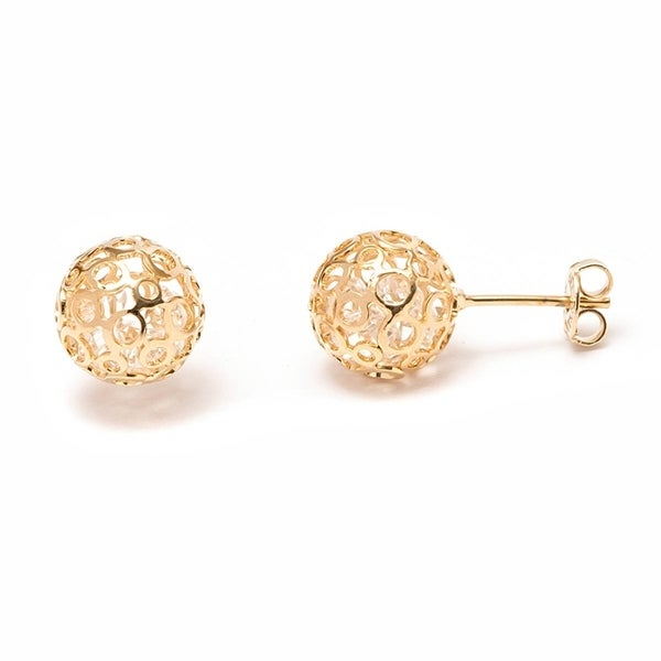 Gold-plated Gold and White Oval Drop Earrings 20622886
