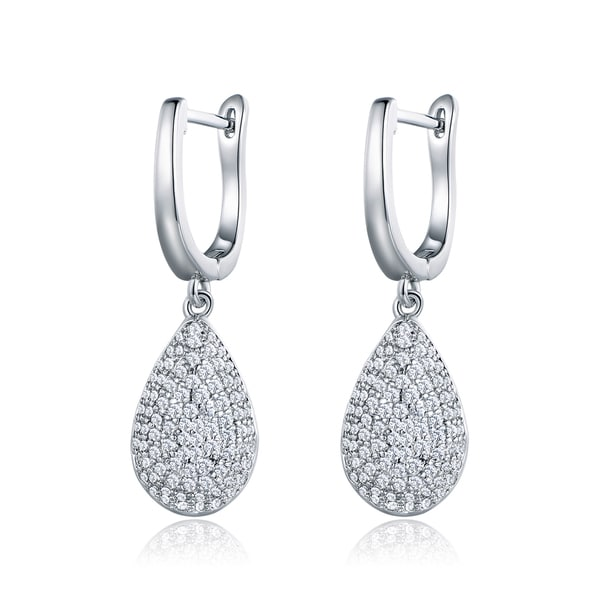 18K White Gold Teardrop Earrings