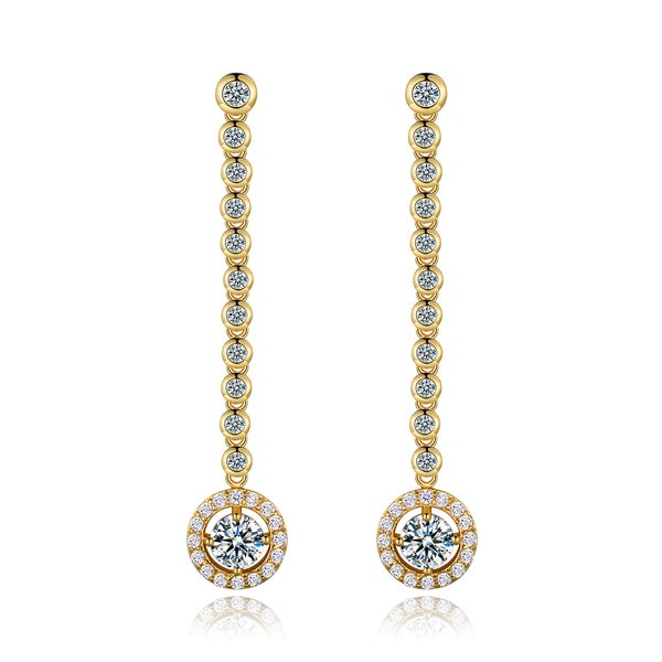 18K Yellow Gold-plated Brass and Crystal Drop Earrings