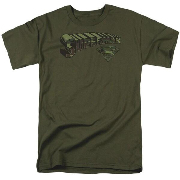 Superman/Camo Logo & Shield Short Sleeve Adult T-Shirt 18/1 in Military Green
