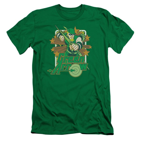 DC/Green Arrow Stars Short Sleeve Adult T-Shirt 30/1 in Kelly Green