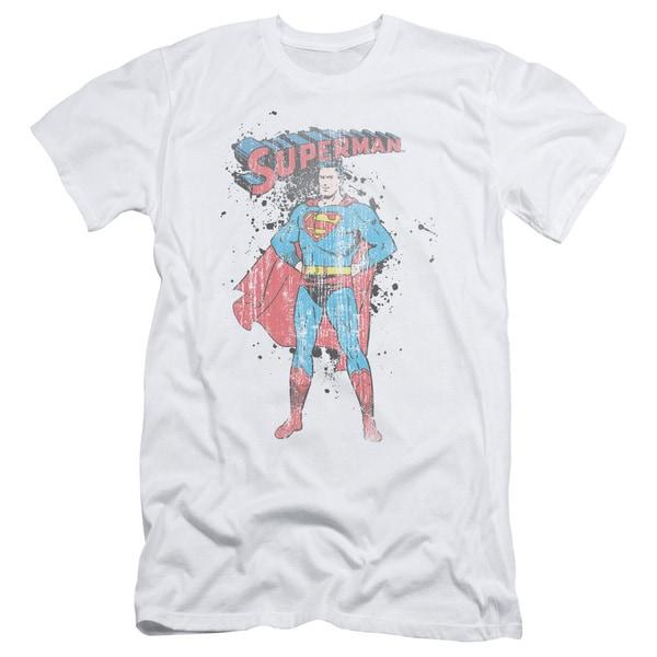 Superman/Vintage Ink Splatter Short Sleeve Adult T-Shirt 30/1 in White