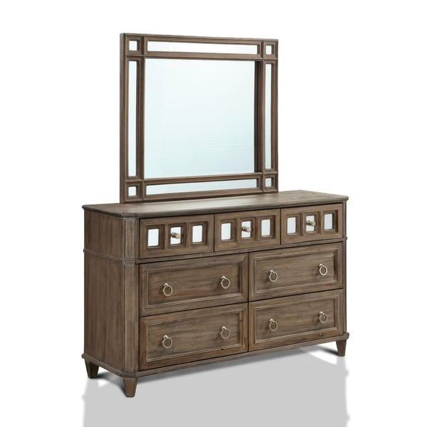 Furniture of America Alyssa Glam 2-piece Mirrored Rustic Oak Dresser and Mirror Set