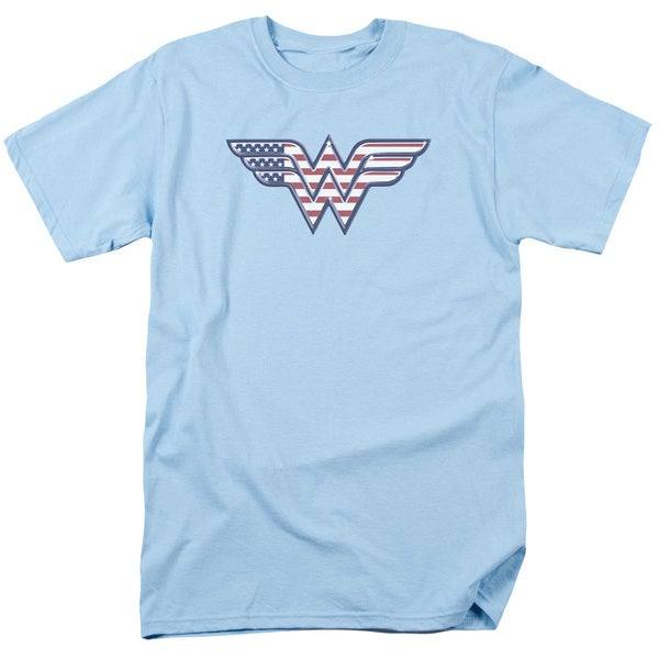 DC/Red,White & Blue Short Sleeve Adult T-Shirt 18/1 in Light Blue