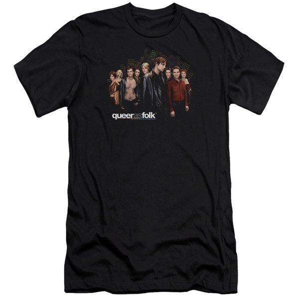 Queer As Folk/Title Short Sleeve Adult T-Shirt 30/1 in Black