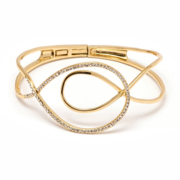 18K Gold-plated and Crystal Swirl Bangle