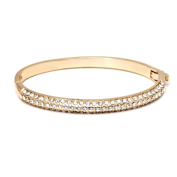 Swavorski Elements 18K Gold Plated Gold and White Bangle Bracelet