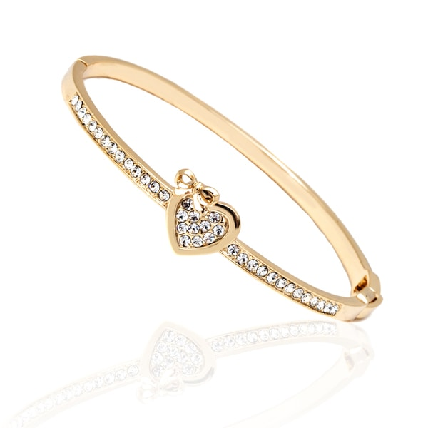 18K Gold Plated Gold and White Heart Bow Bangle Bracelet