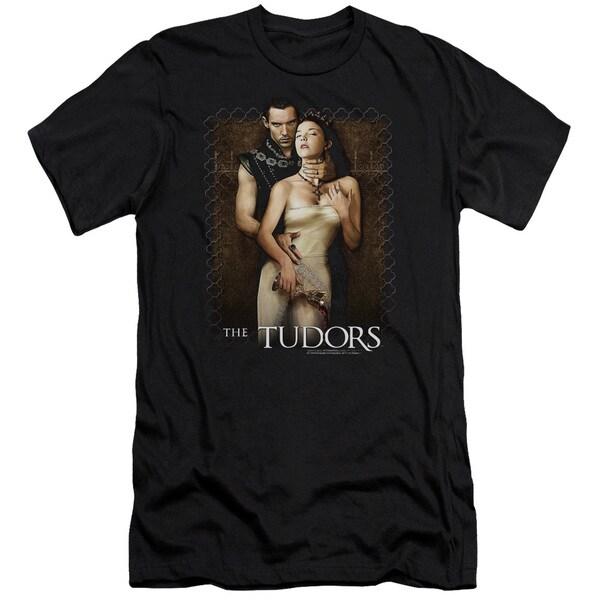 Tudorshort Sleevepilt Wine Short Sleeve Adult T-Shirt 30/1 in Black