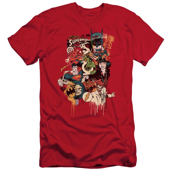 DC/Dripping Characters Short Sleeve Adult T-Shirt 30/1 in Red