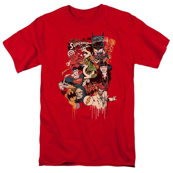 DC/Dripping Characters Short Sleeve Adult T-Shirt 18/1 in Red