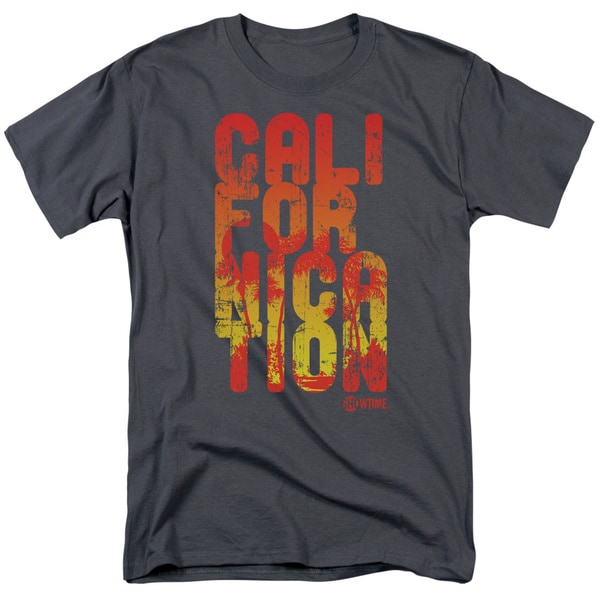Californication/Cali Type Short Sleeve Adult T-Shirt 18/1 in Charcoal