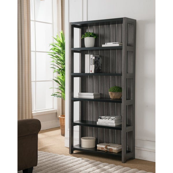 Furniture of America Trainer Slatted Distressed Grey 5-shelf Bookcase