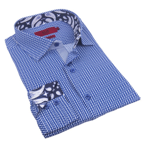 Elie Balleh Milano Italy Boy's Blue Polyester Style Slim Fit Shirt