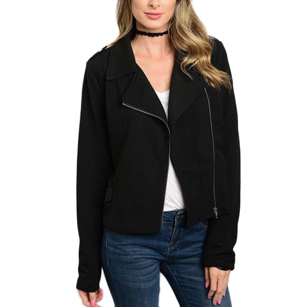 JED Women's Black Polyester/Spandex Long-sleeved Zip-up Motorcyle Jacket