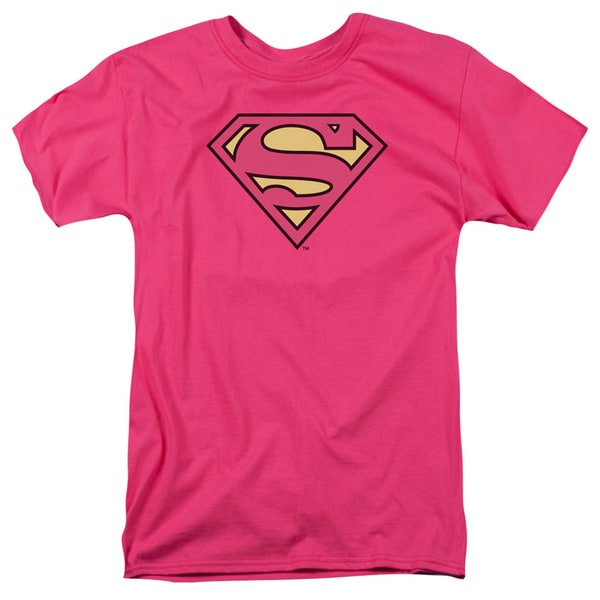 DC/Superman Classic Logo Short Sleeve Adult T-Shirt 18/1 in Hot Pink