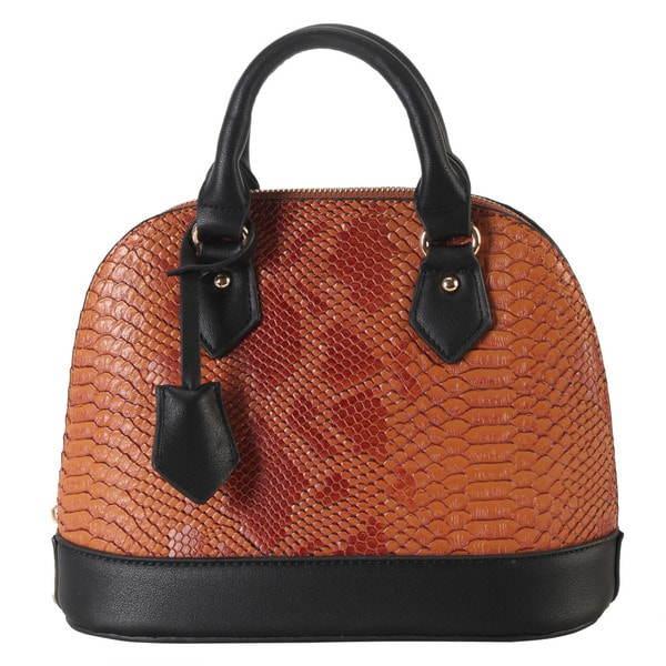 Rimen & Co. PU Leather Snakeskin Shell Shape Top Handle Tote Bag