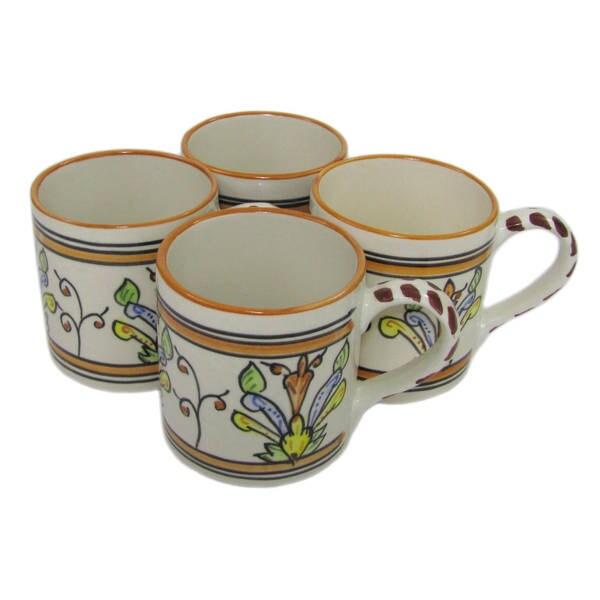 Handmade Set of 4 Stoneware Salvena Coffee Mugs (Tunisia)