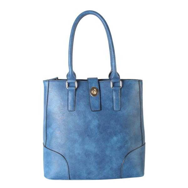 Rimen & Co. PU Leather Multi Spaced Turn Lock Tote Bag