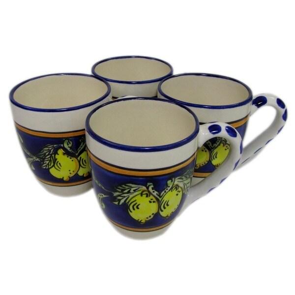 Handmade Set of 4 Le Souk Ceramique Citronique Design Stoneware Tea Cup (Tunisia) 20629756