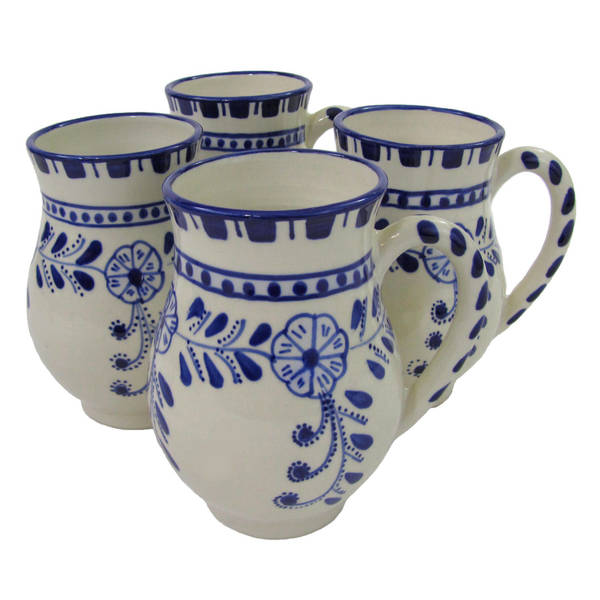Handmade Set of 4 Le Souk Ceramique Azoura Large Stoneware Mugs (Tunisia) 20629991