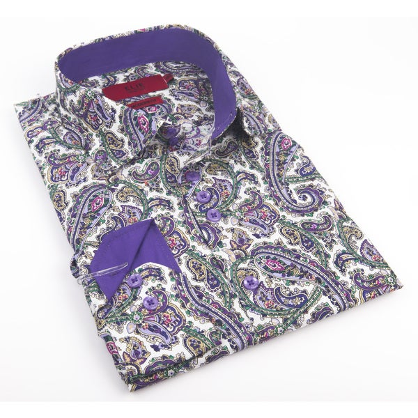 Elie Balleh Milano Italy Men's 2016 Style Blue/Purple Cotton Slim-fit Shirt