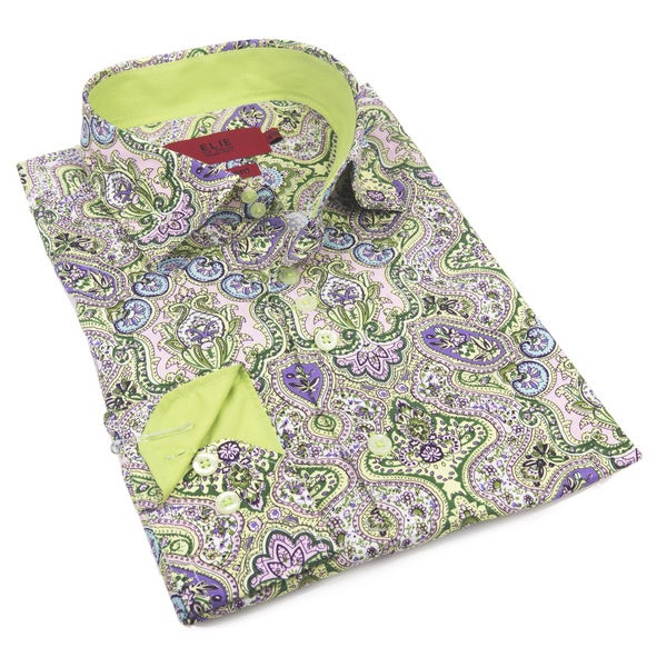 Elie Balleh Milano Italy Men's Green Cotton Slim Fit Shirt