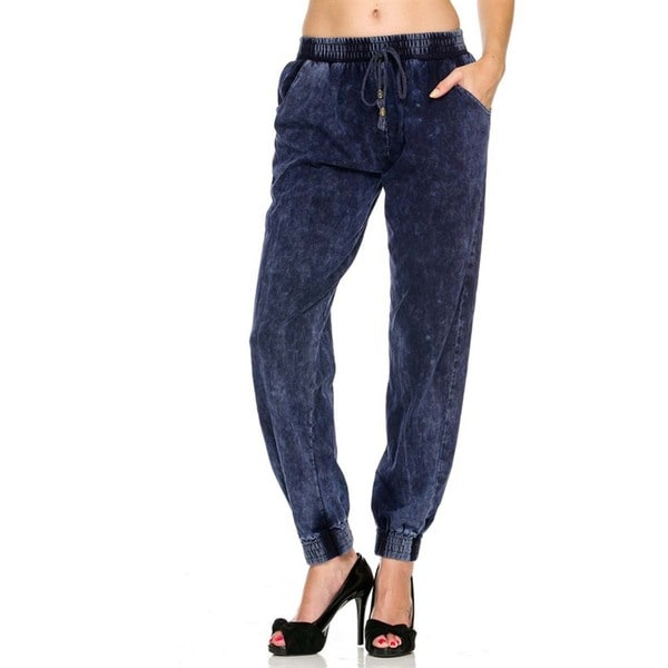 JED Women's Acid Washed Extra Stretchy Denim Joggers