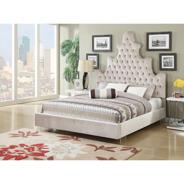 Honesty Button Tufted Upholstered Bed with Acrylic Legs, Sand Plush