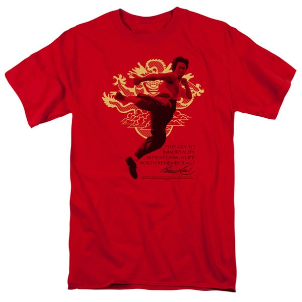 Bruce Lee/Immortal Dragon Short Sleeve Adult T-Shirt 18/1 in Red