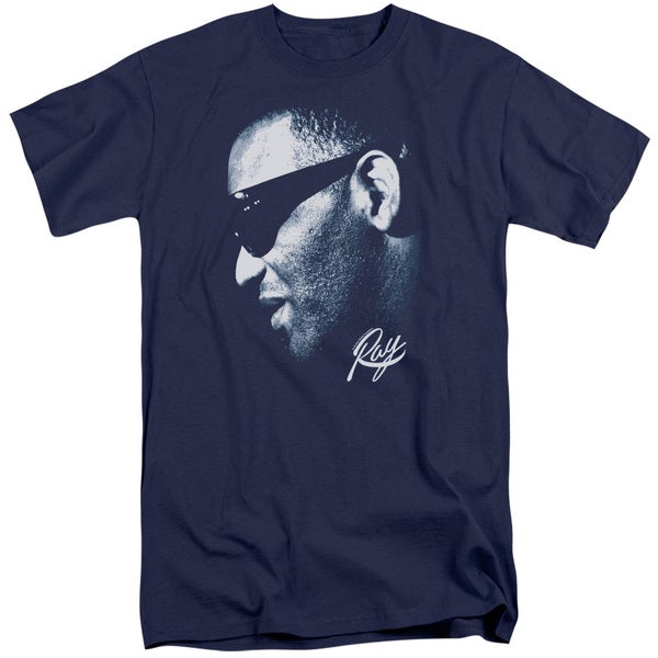 Ray Charles/Blue Ray Short Sleeve Adult T-Shirt Tall in Navy 20632293