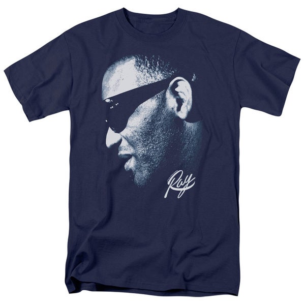 Ray Charles/Blue Ray Short Sleeve Adult T-Shirt 18/1 in Navy 20632309