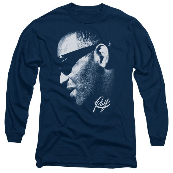 Ray Charles/Blue Ray Long Sleeve Adult T-Shirt 18/1 in Navy 20632323
