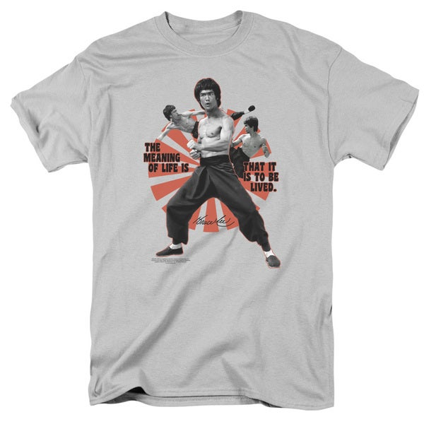 Bruce Lee/Meaning Of Life Short Sleeve Adult T-Shirt 18/1 in Silver