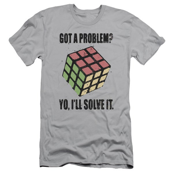 Rubik's Cube/Problem Solver Short Sleeve Adult T-Shirt 30/1 in Silver