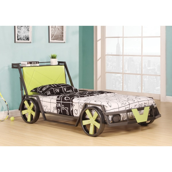 Spencer Twin Bed, Silver & Green Racing Car