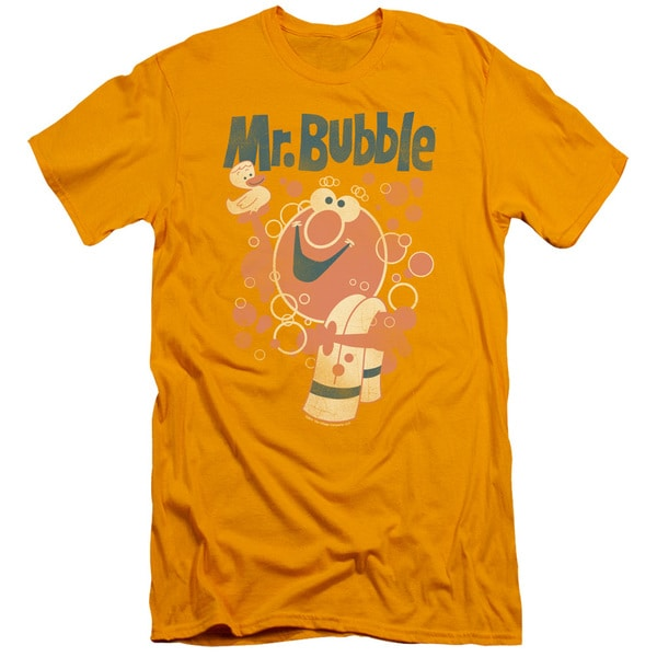 Mr Bubble/Towel and Duckie Short Sleeve Adult T-Shirt 30/1 in Gold