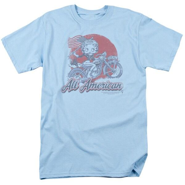 Boop/All American Biker Short Sleeve Adult T-Shirt 18/1 in Light Blue
